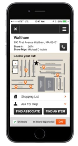 mobile retail apps - home depot